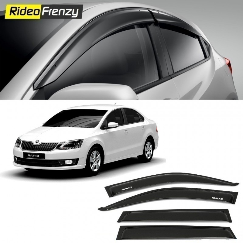Buy Unbreakable Skoda Rapid Door Visors in ABS Plastic at low prices-RideoFrenzy
