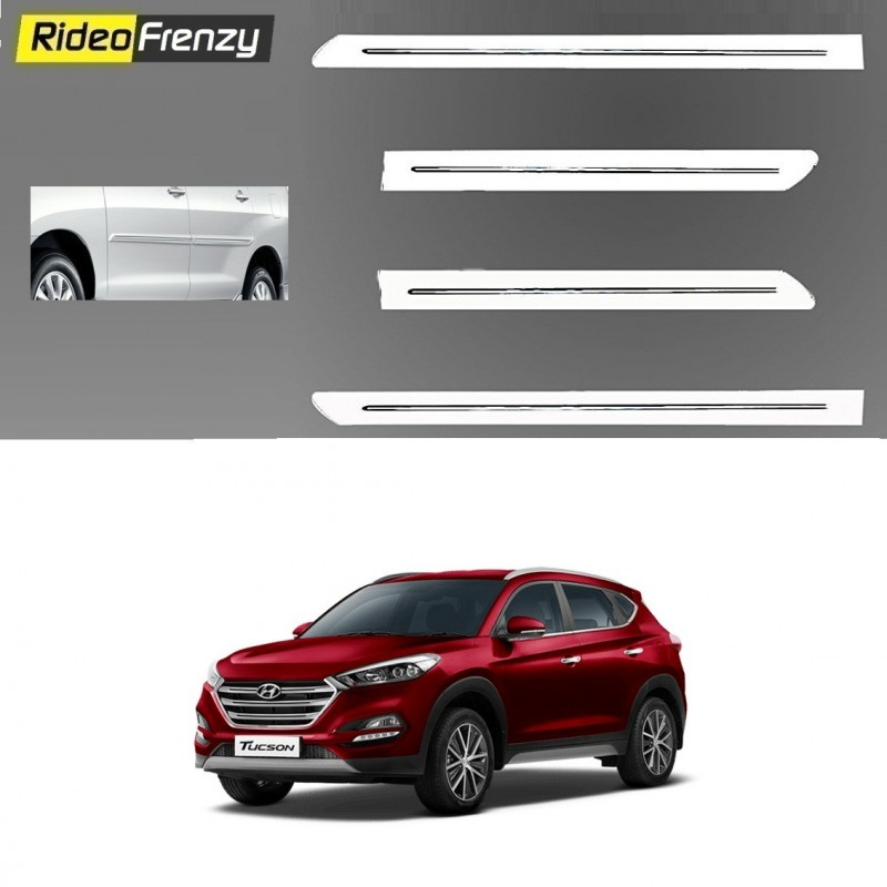 Buy Hyundai Tucson White Chromed Side Beading online at low prices-RideoFrenzy