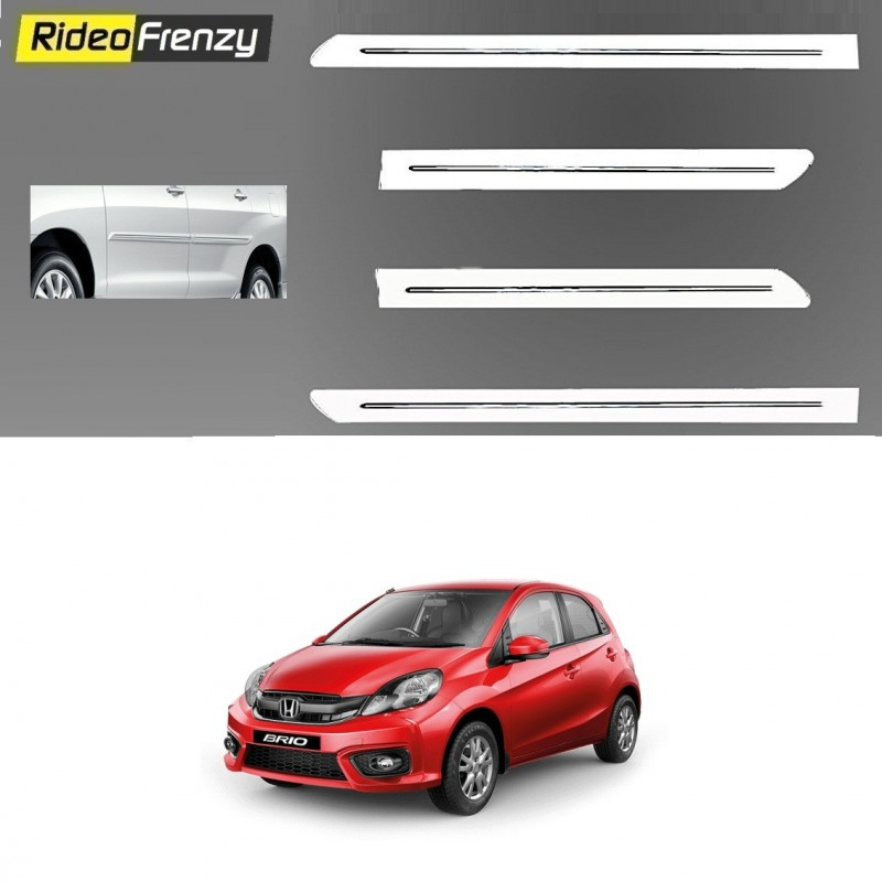 Buy Honda Brio White Chromed Side Beading at low prices-RideoFrenzy