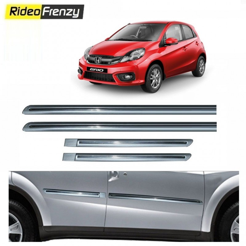 Buy Honda Brio Silver Chromed Side Beading online at low prices-RideoFrenzy