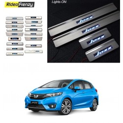 Buy Honda Jazz Door Stainless Steel Sill Plate with Blue LED online at low prices-RideoFrenzy
