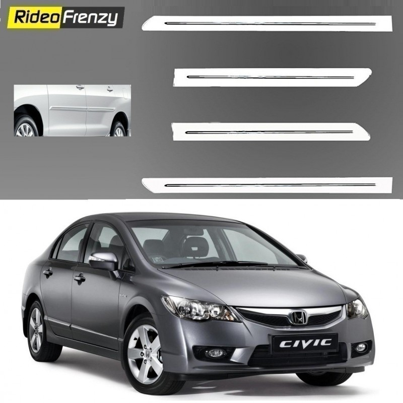 Buy Honda Civic White Chromed Side Beading online at low prices-RideoFrenzy