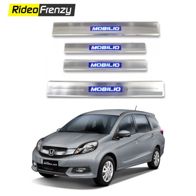 Buy Honda Mobilio Stainless Steel Sill Plate with Blue LED online at low prices-RideoFrenzy