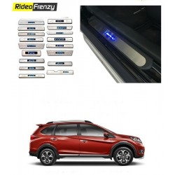 Buy Honda BRV Door Stainless Steel Scuff Plate with Blue LED online at low prices-RideoFrenzy