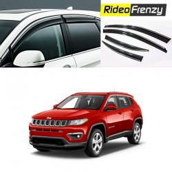 Buy Unbreakable Jeep Compass Chrome Line Door Visors in ABS Plastic at low prices-RideoFrenzy
