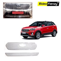 Buy Hyundai Creta Chrome Grill Covers (Upper+Lower) at low prices-RideoFrenzy