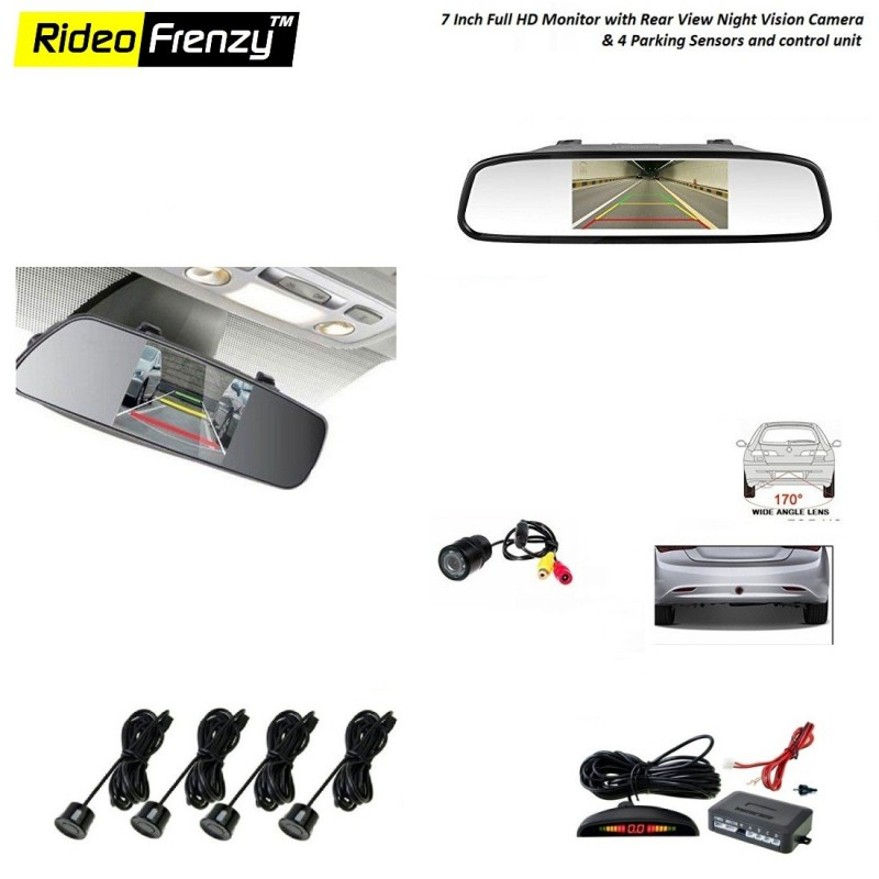 Buy Factory Style Full HD Monitor with Rear View Camera & 4 Sensor Kit at low prices-RideoFrenzy