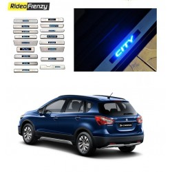 Buy Maruti Scross Door Stainless Steel Sill Plate with blue LED at low prices-RideoFrenzy