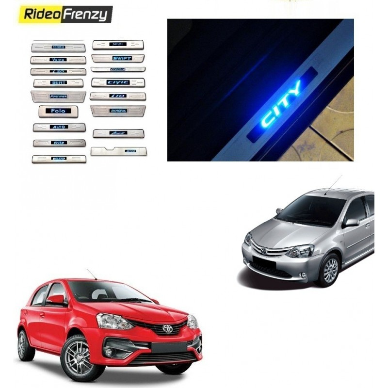 Buy Toyota Etios Liva Stainless Steel Sill Plate with Blue LED online at low prices-Rideofrenzy