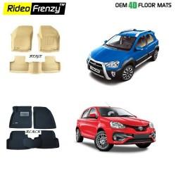 Buy Ultra Light Toyota Etios Liva & Etios Cross Bucket 4D Crocodile Floor Mats online at low prices-Rideofrenzy