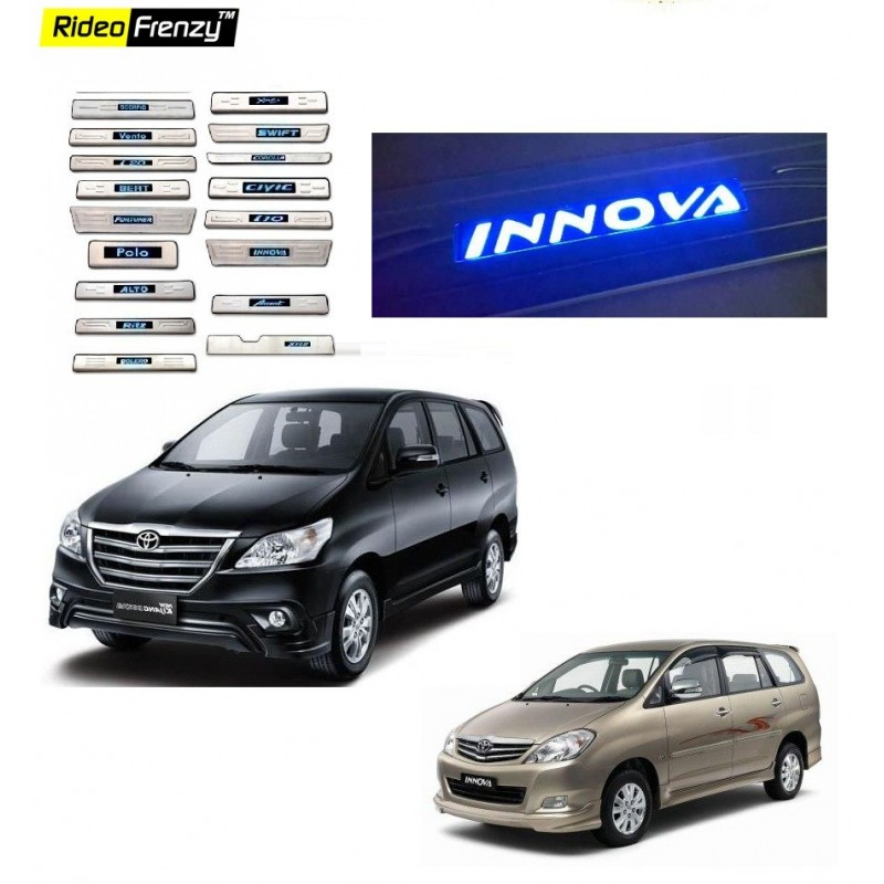 Buy Toyota Innova Stainless Steel Sill Plate with Blue LED online at low prices-Rideofrenzy