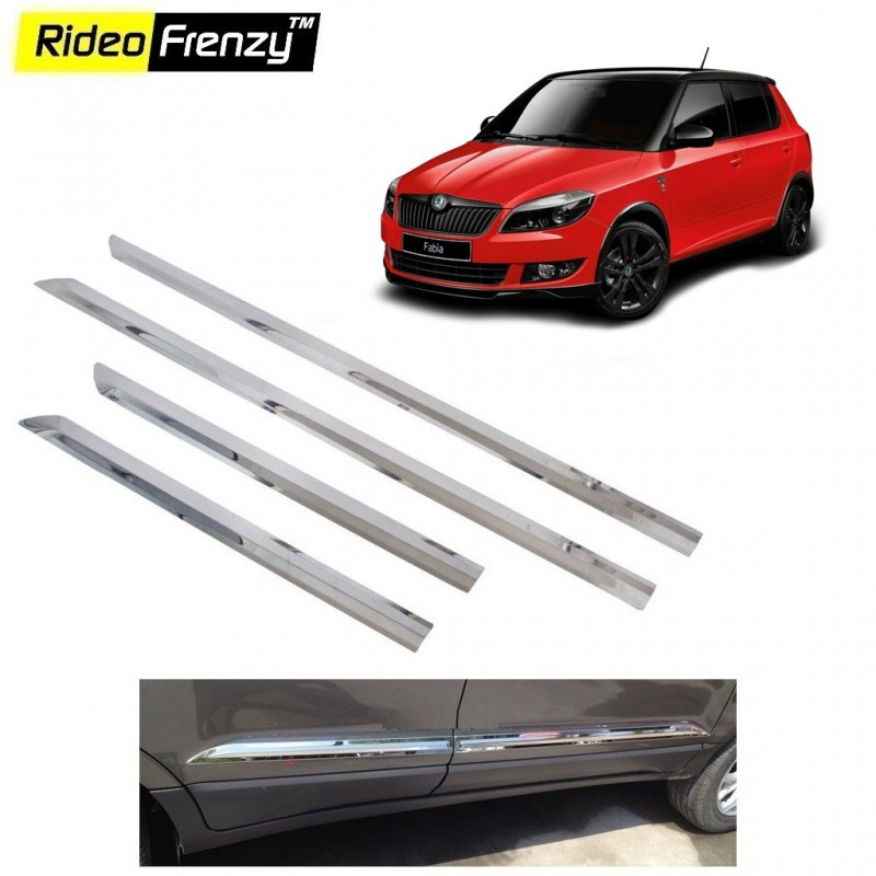 Buy Stainless Steel Skoda Fabia Chrome Side Beading online at low prices-Rideofrenzy