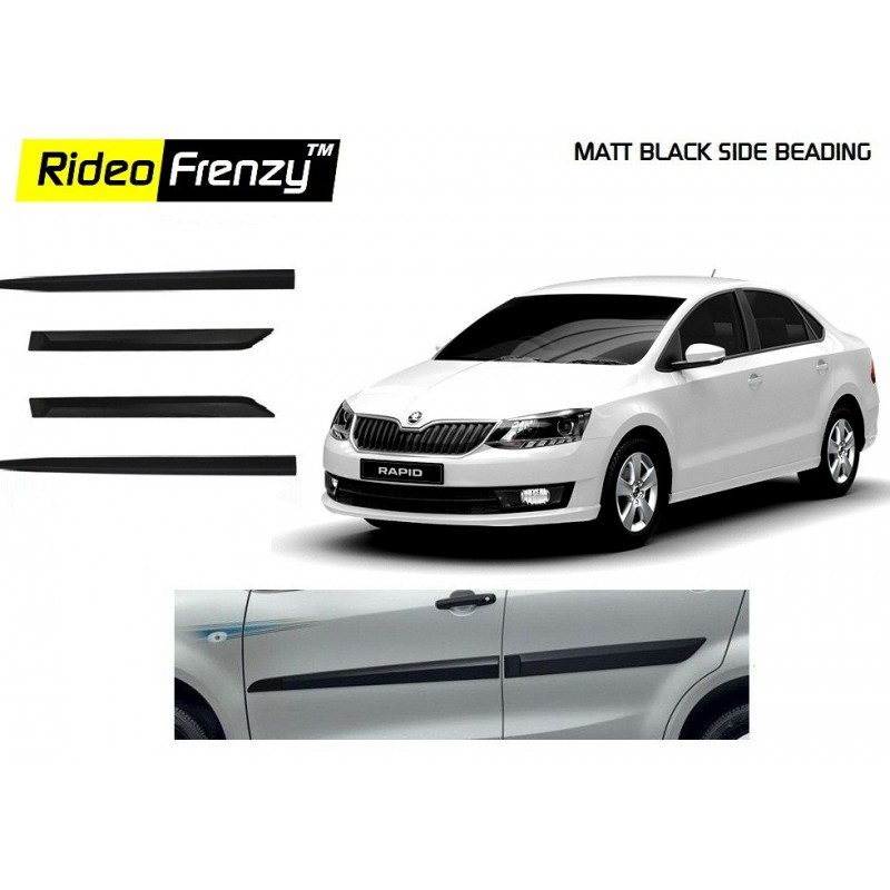 Buy Skoda Rapid Matt Black Side Beading online at low prices-Rideofrenzy