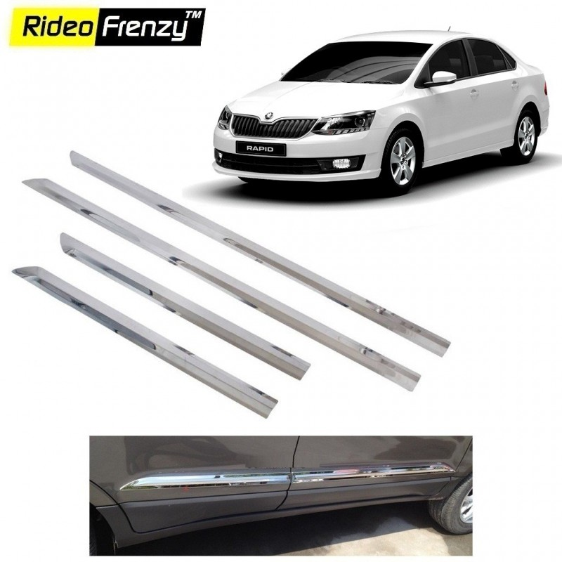 Buy Stainless Steel Skoda Rapid Chrome Side Beading online at low prices-Rideofrenzy