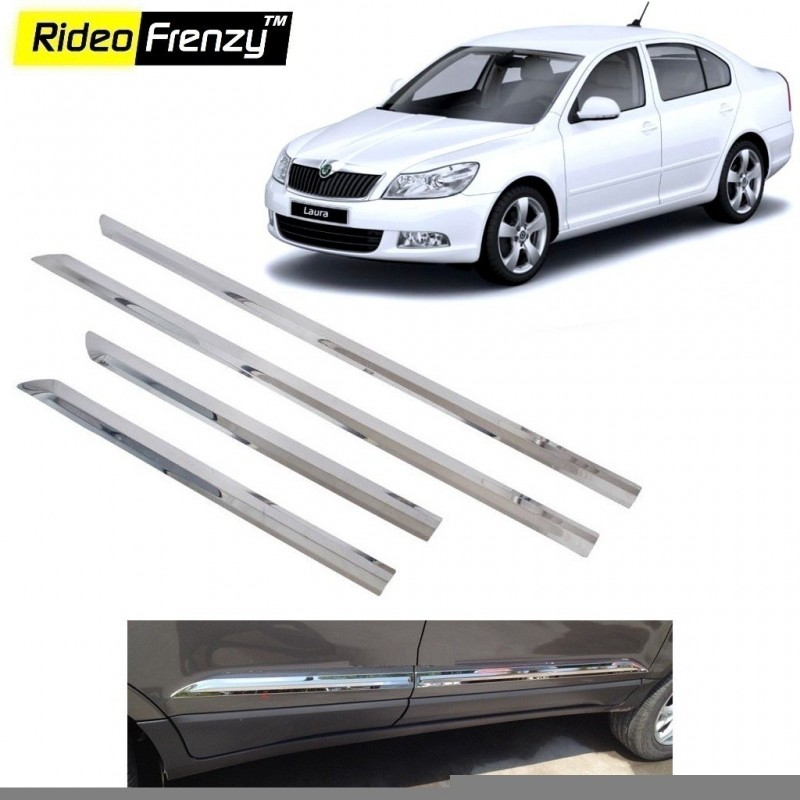 Buy Stainless Steel Skoda Laura Chrome Side Beading online at low prices-Rideofrenzy