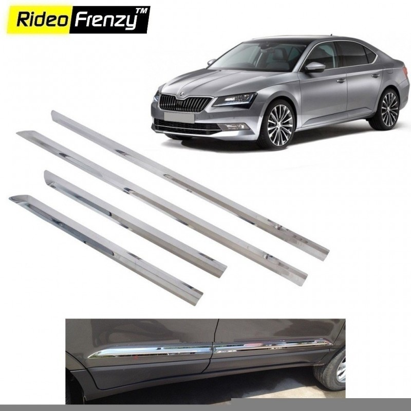 Buy Stainless Steel Skoda Superb Chrome Side Beading online at low prices-Rideofrenzy