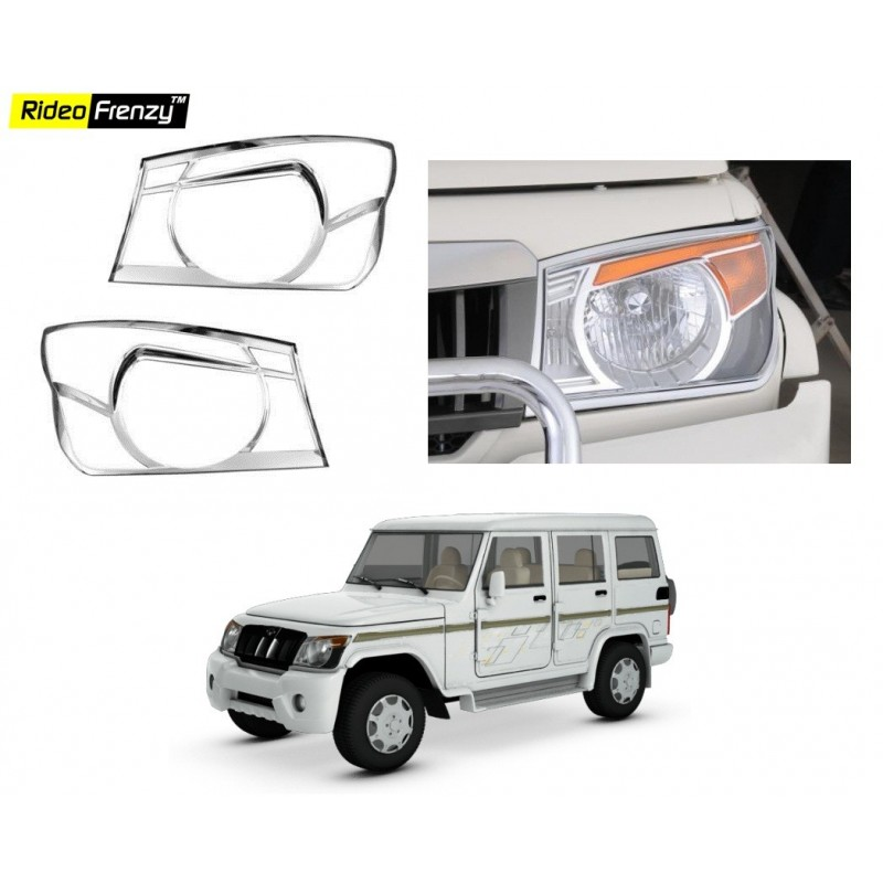 Buy Mahindra Bolero Chrome HeadLight Covers Online at low prices-Rideofrenzy