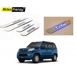 Buy Stainless Steel Mahindra TUV300 Sill Plate with Blue LED online at low prices-Rideofrenzy