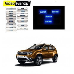 Buy Renault Duster Stainless Steel Sill Plate with Blue LED online at low prices | Rideofrenzy