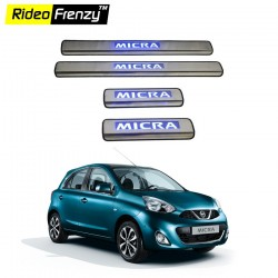 Buy Nissan Micra Stainless Steel Sill Plate with Blue LED online India | Rideofrenzy