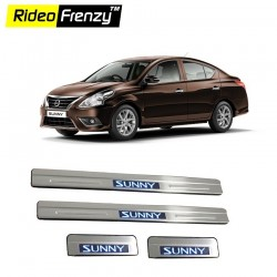 Buy Nissan Sunny Stainless Steel Scuff Plate with Blue LED online India | Rideofrenzy