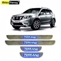 Buy Nissan Terrano Stainless Steel Scuff Plate with Blue LED online | Rideofrenzy