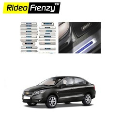 Buy Chevrolet Sail Stainless Steel Sill Plate WITH BLUE LED online | Rideofrenzy
