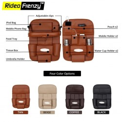 Buy Premium Leather Car Organizer-Multi Pocket 3D Design at low prices-RideoFrenzy