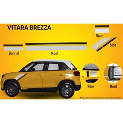 Buy Vitara Brezza Body Graphics Stickers online India | Fast Shipping | Original Black & Grey Design