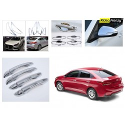 Buy Hyundai Verna 2017 & 2018 Chrome Accessories Combo Set of Head lights,Tail lights,Mirror Covers,Handle covers