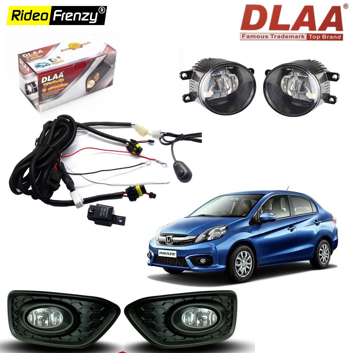 buy original dlaa honda amaze fog lamps with wiring kit & switch at best  price in