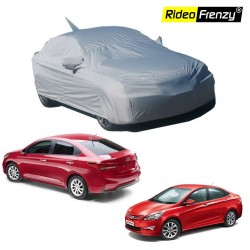 Buy Premium Fabric Hyundai Verna Body Cover with Mirror & Antenna Pockets at low prices-RideoFrenzy