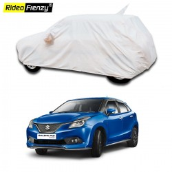 Buy Maruti Baleno Car Cover with Mirror Pocket & Antenna Cap | 100% Waterproof | Elegant White Color