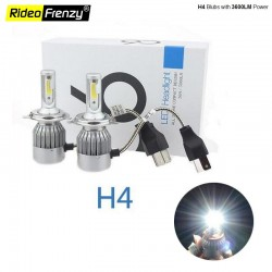 Buy H4 LED Bulbs | 3800LM Ultra Bright White Light | C6 High & Low Beams Online India