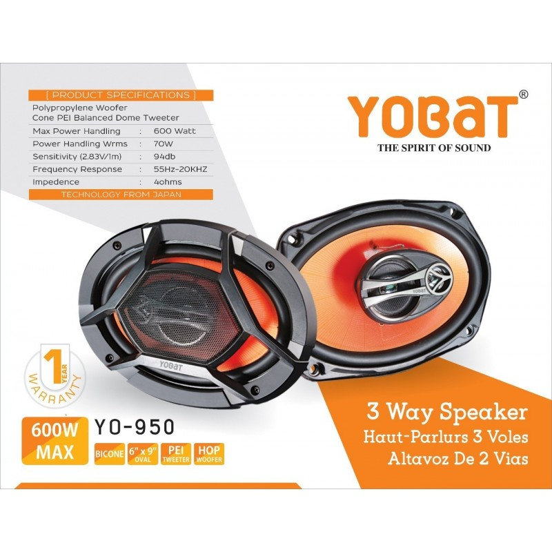 Buy Yobat 3-way Coaxial Oval Car Speakers | 600 W Power Output | Inbuilt Tweeter & Woofer | 1 Year Warranty