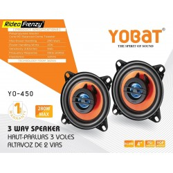 Yobat 3-way 4 inch Component Car Speakers | Inbuilt Tweeter & Woofer | 1 Year Warranty