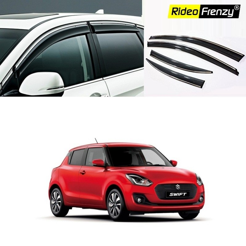 Buy Maruti Swift 2018 Chrome Line Door Visors | Unbreakable ABS Plastic | Online India