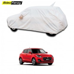 Buy Maruti Swift 2018 Car Cover with Mirror Pocket & Antenna Cap | 100% Waterproof | Elegant White Color