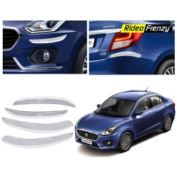 Buy Maruti Dzire 2017 Chrome Bumper Protectors Guards | Original OE Type | Online India