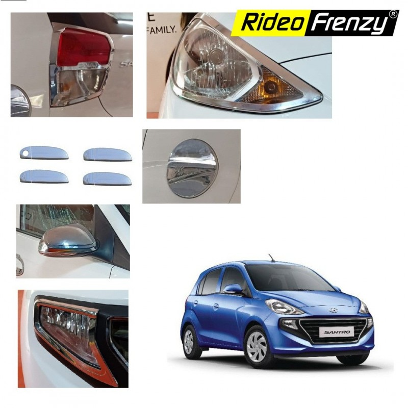 Buy Hyundai Santro 2018 Chrome Combo Set of 6 | Headlights | Tail Lamp | Mirrors | Handles | Fog Lamps | PTC