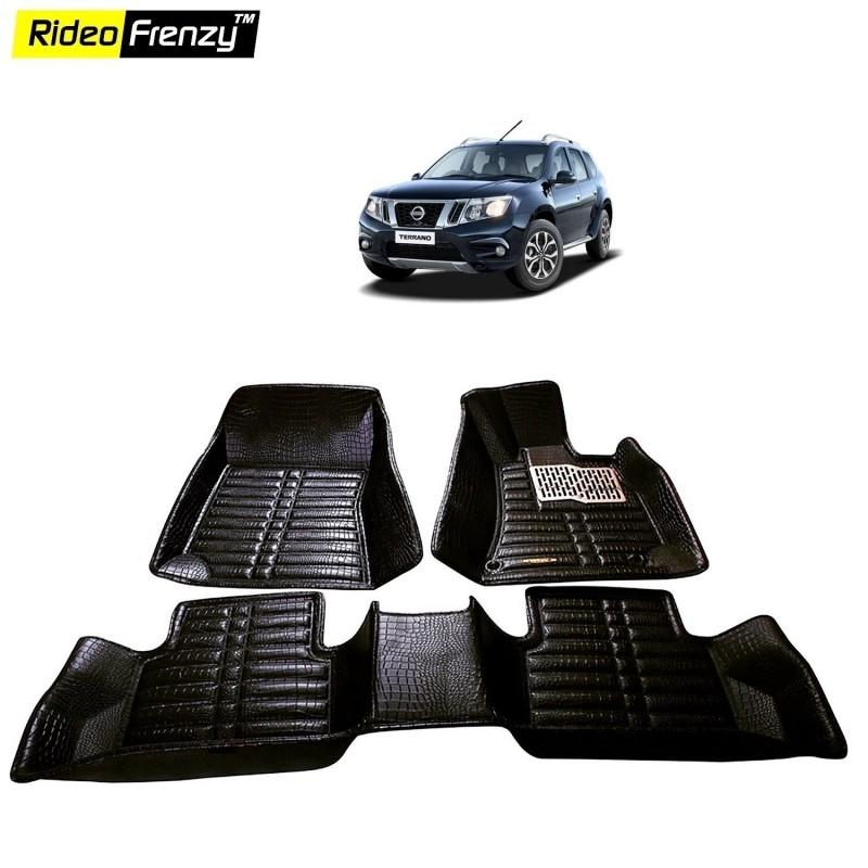 Buy Nissan Terrano 2018 5D Floor Mats | Bucket Fit Design | Waterproof & Odorless | Crocodile Lamination floor mats