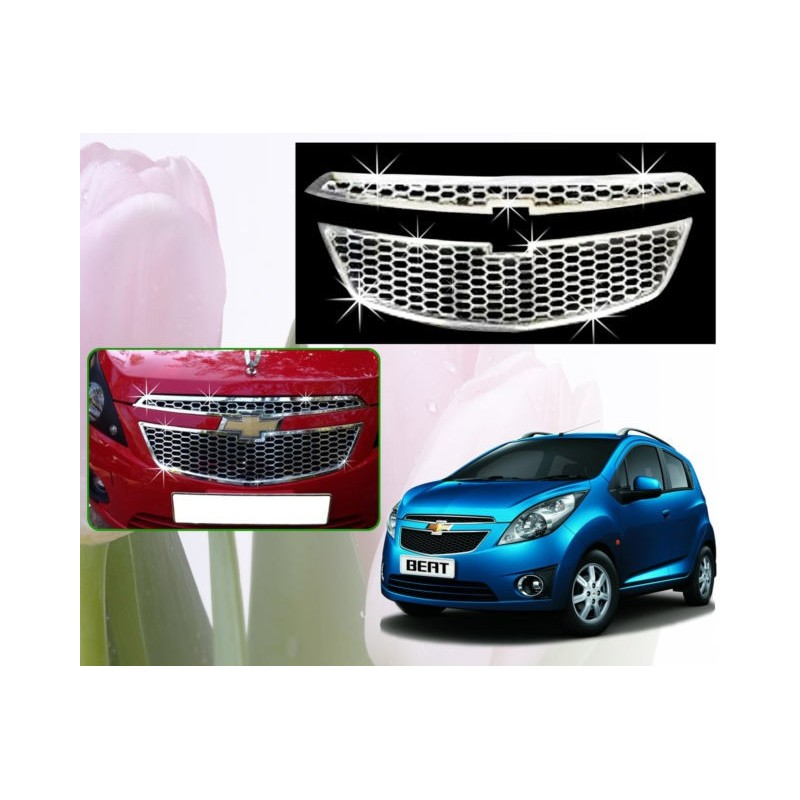 Buy Premium Glossy Chevrolet Beat Front Chrome Grill at low prices-RideoFrenzy