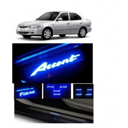 Buy Hyundai Accent Stainless Steel Door Scuff Sill Plate with blue LED at low prices-RideoFrenzy