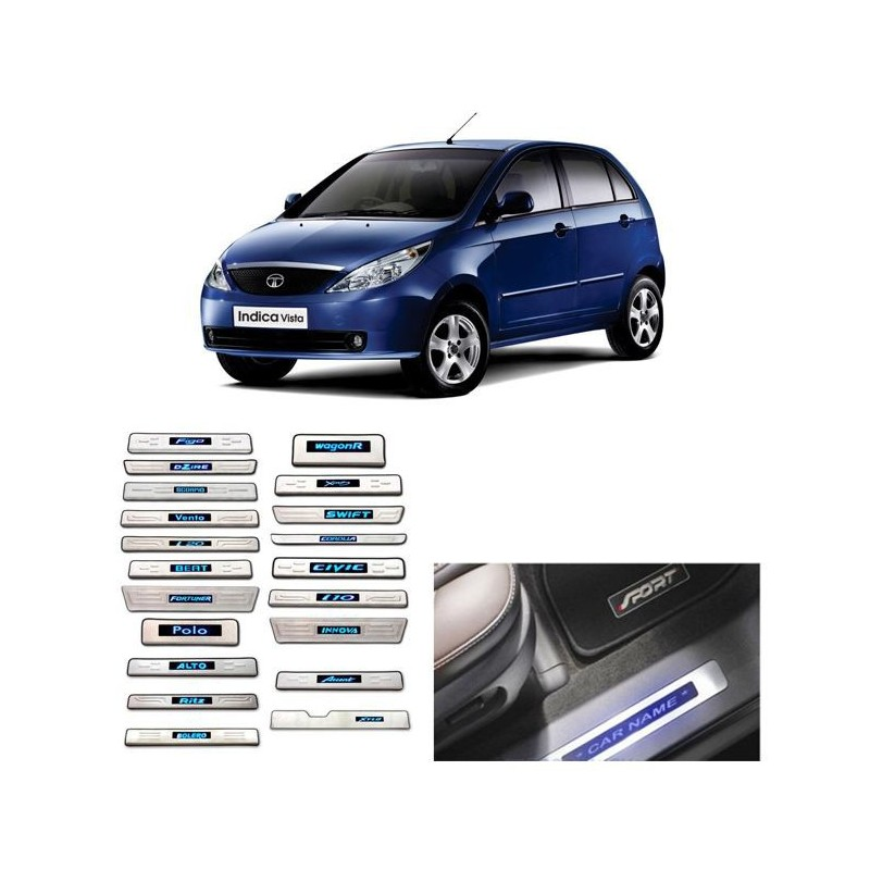 Buy Tata Indica Vista Door Stainless Steel Sill Plate with Blue LED online at low prices-RideoFrenzy