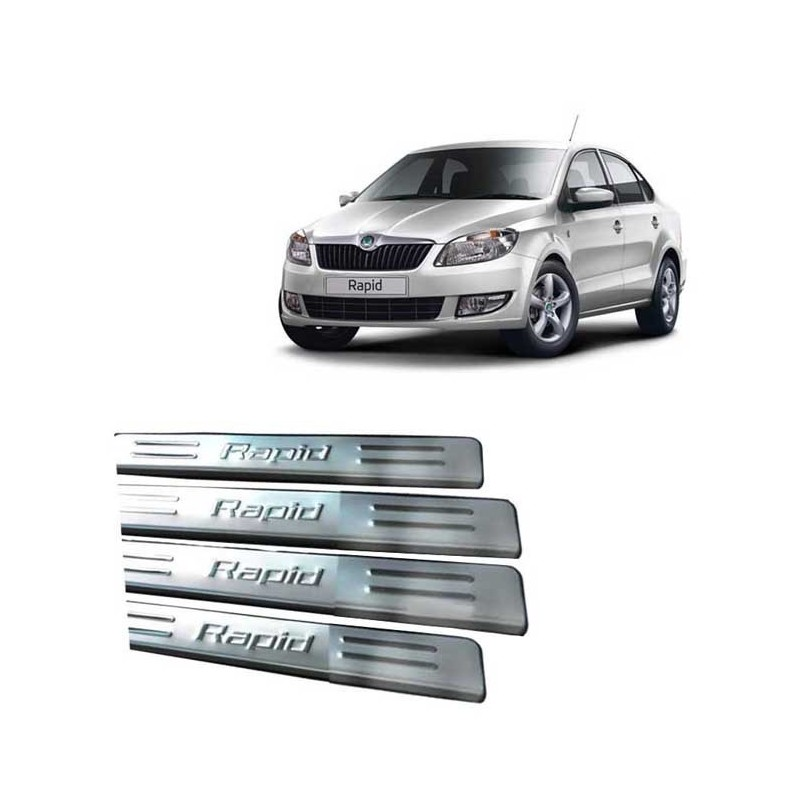 Buy Skoda Rapid Stainless Steel Door Sill Plate online at low prices-Rideofrenzy