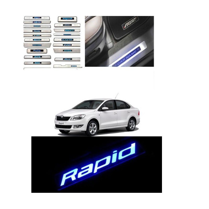 Buy Skoda Rapid Stainless Steel Sill Plate with Blue LED online at low prices-Rideofrenzy