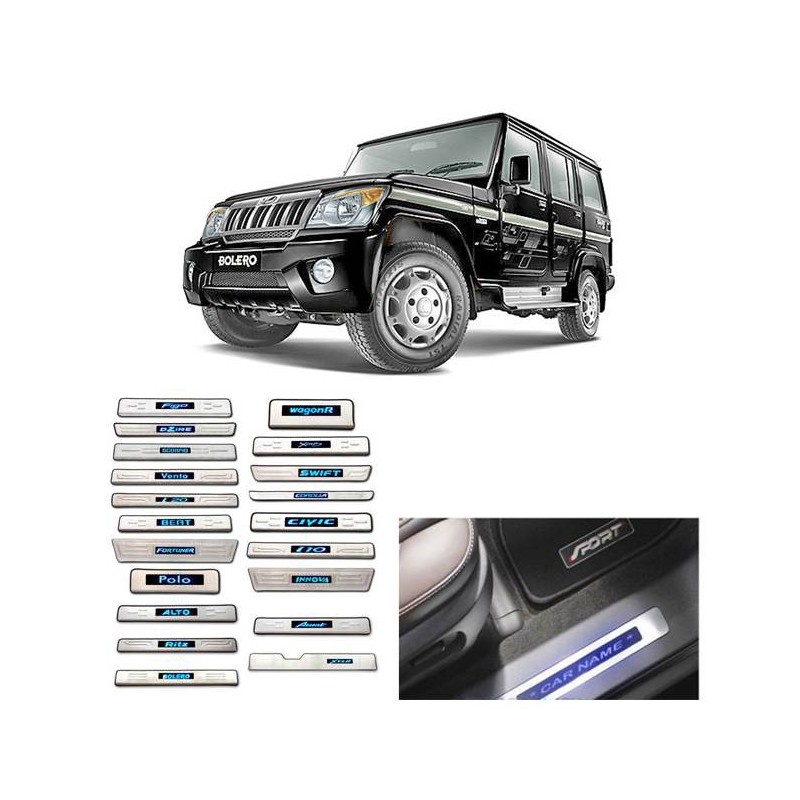 Buy Mahindra Bolero Stainless Steel Sill Plate with Blue LED online at low prices-Rideofrenzy