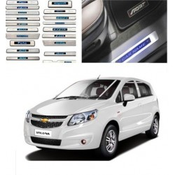 Buy Chevrolet Sail Uva Stainless Steel Sill Plate with Blue LED online | Rideofrenzy